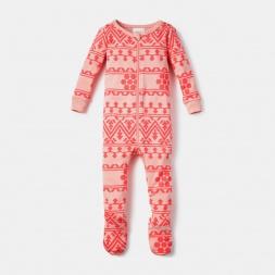 Pink Pequeno Alpamayo Footie Pajama Set for Baby Girls