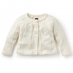Girls White Cardigan Sweater | Tea Collection