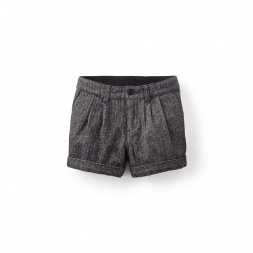 Herringbone Pleated Shorts | Tea Collection