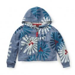 Girls Flower Zip Hoodie