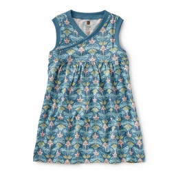Hidden Butterflies Wrap Neck Dress