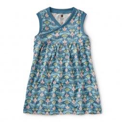 Hidden Butterflies Wrap Neck Dress