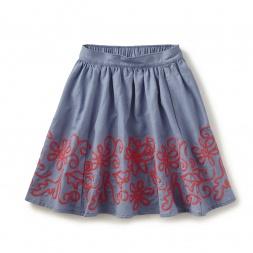 Amata Embroidered Midi Skirt