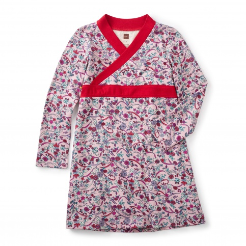 Ikebana Wrap Neck Dress