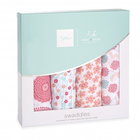 tea x aden + anais Global Garden Swaddle 4pk