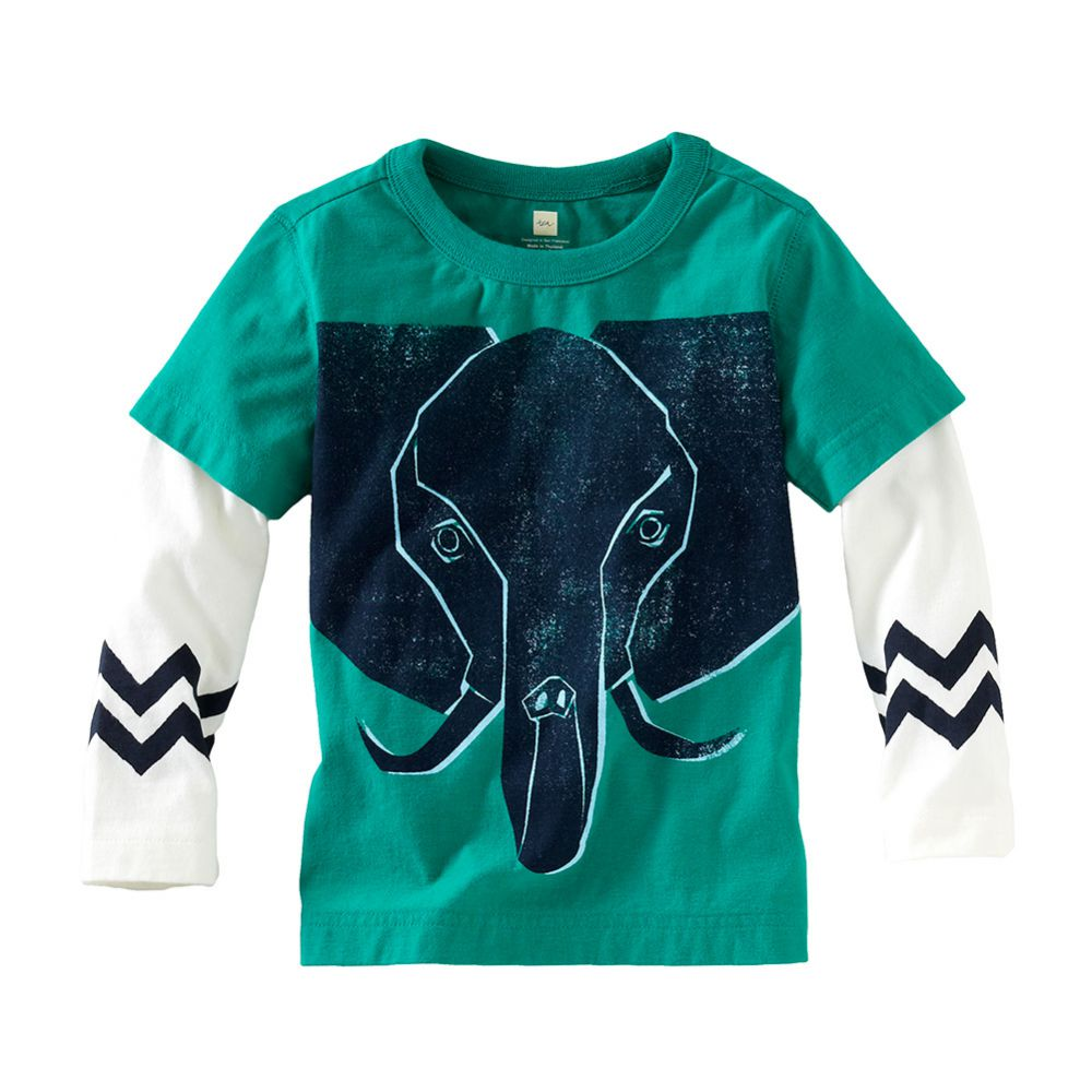 Tea Collection Elephant Graphic Layered Tee