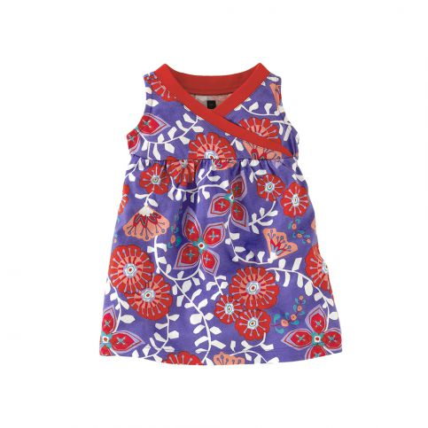 Royal Flower Wrap Neck Dress