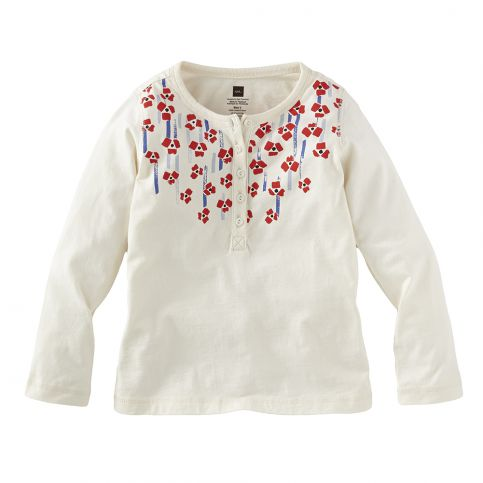 Painted Flowers Graphic Henley
