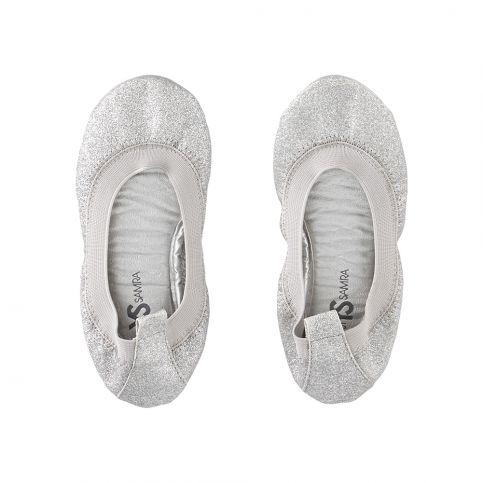 Yosi Samra Silver Sparkle Ballet Flat