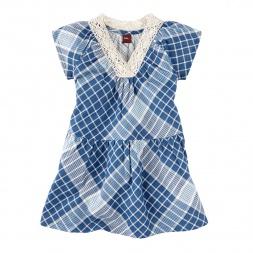 Khadi Plaid Crochet Neck Dress