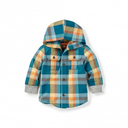 Phulia Plaid Button Hoodie | Tea Collection