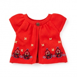 Riya Embroidered Cap-Sleeve Cardigan for Baby Girls | Tea Collection