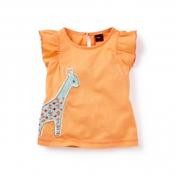 Kantha Giraffe Graphic Tee Shirt for Baby Girls | Tea Collection