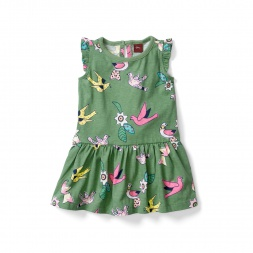 Kantha Birds Baby Flutter Dress for Girls | Tea Collection