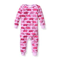 Baby Girl Elephant One-Piece Baby Pajamas | Tea Collection