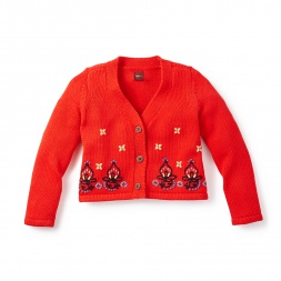 Red Girls Riya Embroidered Cardigan | Tea Collection