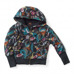 Jaldapara Jungle Zip Hoodie for Girls | Tea Collection