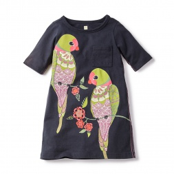 Calico Parakeets T-Shirt Dress for Girls | Tea Collection