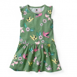 Girls Kantha Birds Flutter Dress | Tea Collection