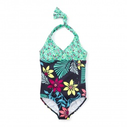 Manipal Surf Keyhole Halter One-Piece for Girls   Tea Collection