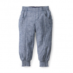 Chambray Smocked Pants for Girls | Tea Collection