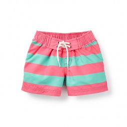 Swimmer Stripe Board Shorts