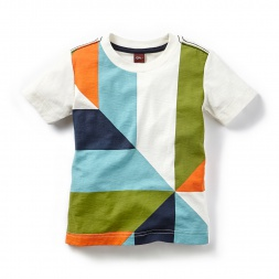 Patchwork Tile Graphic Tee Shirt for Little Boys | Tea Collection