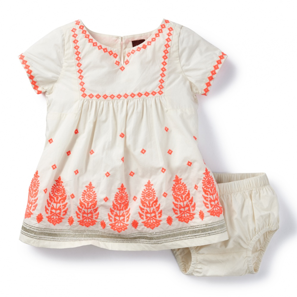 Tea Collection Taj Mahal Embroidered Baby Dress
