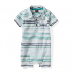 Gagan Stripe Polo Romper | Tea Collection