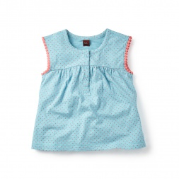 Purple Dyuti Dots Henley Top for Girls | Tea Collection