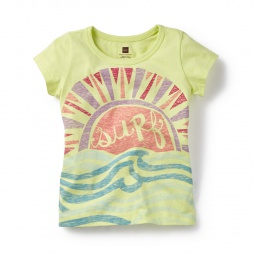 Yellow Surf and Sun Graphic Tee for Little Girls | Tea Collection