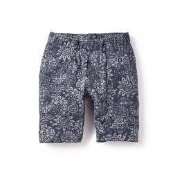 Green & Gray Preet Print French Terry Short for Boys | Tea Collection