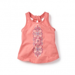 Blue Chitrita Keyhole Tank Top for Girls | Tea Collection