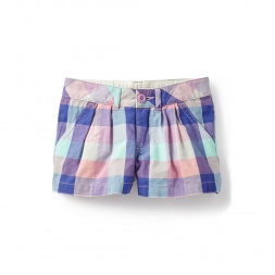 Plaid Pastel Bhopal Pleated Shorts for Girls | Tea Collection