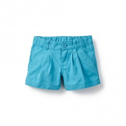 Teal Blue Solid Pleated Shorts for Girls | Tea Collection