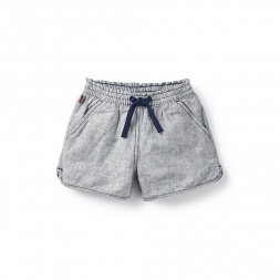 Chambray Stripe Shorts for Little Girls | Tea Collection