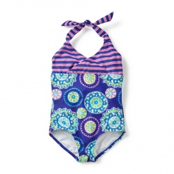 Blue & Purple Atasi Keyhole Halter One-Piece Bathing Suit for Little Girls | Tea Collection