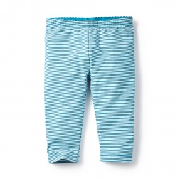 Blue Striped Capri Leggings for Girls | Tea Collection