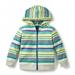 Striped Green Kovalam Zip Hoodie for Little Boys | Tea Collection