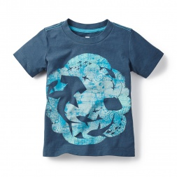 Blue & Green Celestial Sea Graphic Tee Shirt for Little Boys | Tea Collection