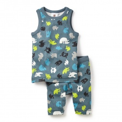 Rhinoceros Unicornis Tank Pajamas Set for Little Boys | Tea Collection