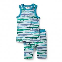 Crocodilian Tank Pajamas Set for Boys | Tea Collection