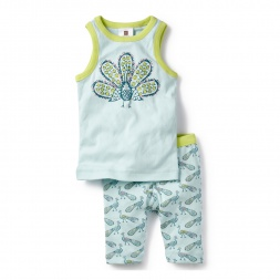 Blue Kanjari Tank Pajamas Set for Girls | Tea Collection