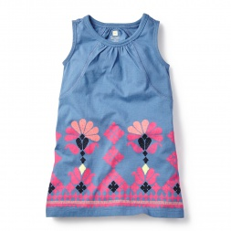 Blue & Pink Mahanadi Chata Dress for Girls | Tea Collection