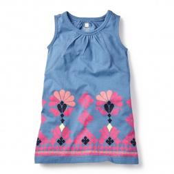 Blue & Pink Mahanadi Chata Dress for Girls | Tea Collection