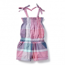 Plaid Patna Shoulder-Tie Romper for Little Girls | Tea Collection