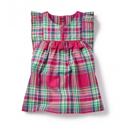 Plaid Lucknow Tunic Dress for Little Girls | Tea Collection