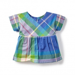 Blue Plaid Chennai Notch Top for Little Girls | Tea Collection