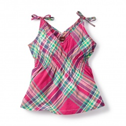 Plaid Lucknow Shoulder-Tie Top for Girls | Tea Collection