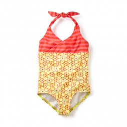 Orange & Pink Rashmi Keyhole Halter One-Piece Swimsuit for Little Girls | Tea Collection